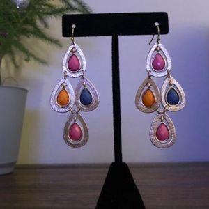 Colorful Tear Drop Chandelier Earrings